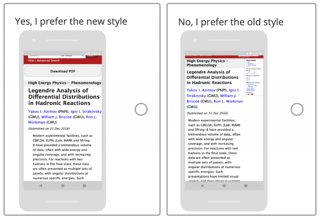 arxive survey question comparing the existing abstract page to a mobile-friendly version