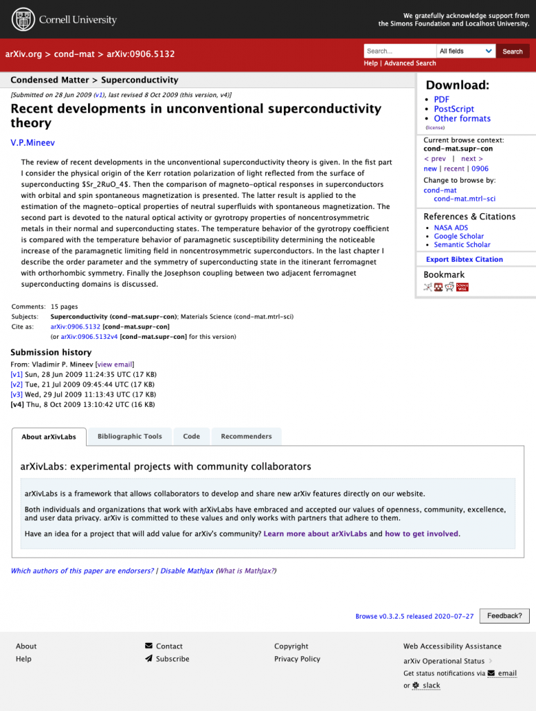 Screenshot of arXiv record page with arXivLabs tabs