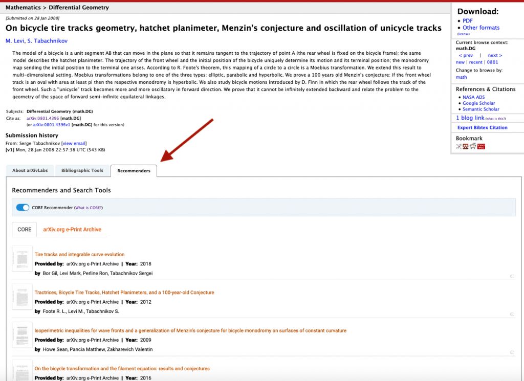 arXiv abstract page with CORE recommender