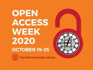 Cornell's OA Week Logo of an open lock