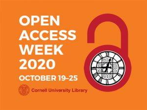 Cornell's OA Week Logo of an open lock