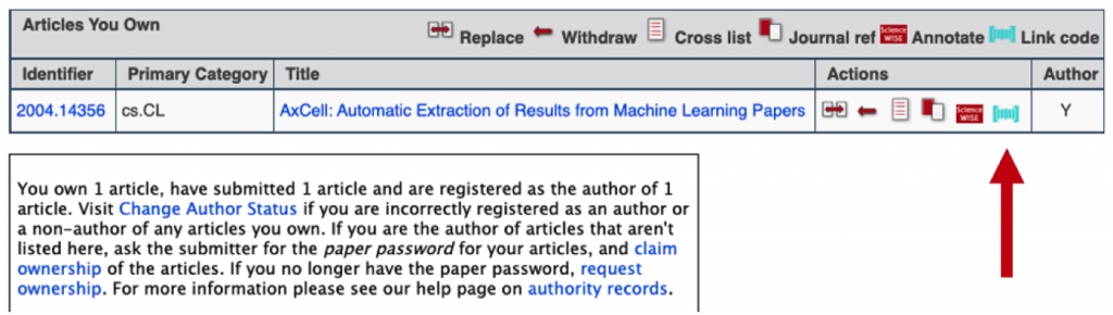 screenshot of arXiv user page, with links to Papers with Code next to each paper