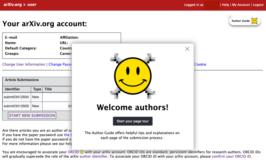 screenshot of author guide welcome, after launching the guide