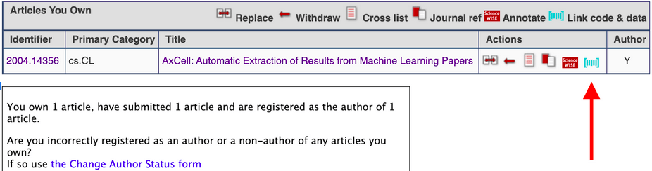 screen shot of arXiv user page showing icon to link to datasets on Papers with Code