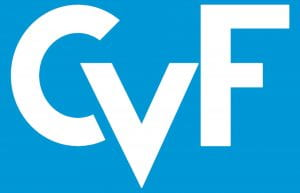 Image of the CVF logo with white letters on a blue background