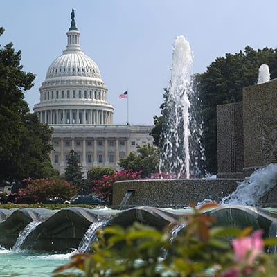 The Capitol Building and fountain in Washington, D.C.