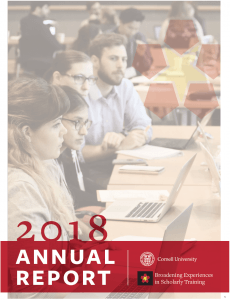 The cover of the 2018 BEST annual report shows workshop participants working in small groups at a BEST event.