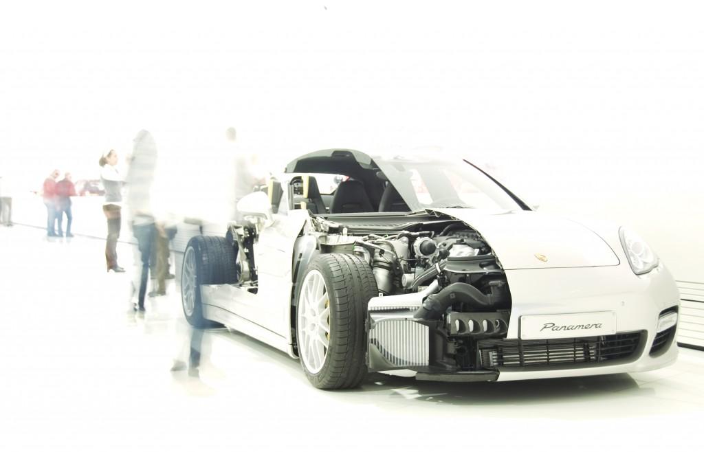 Cutaway Porsche on display
