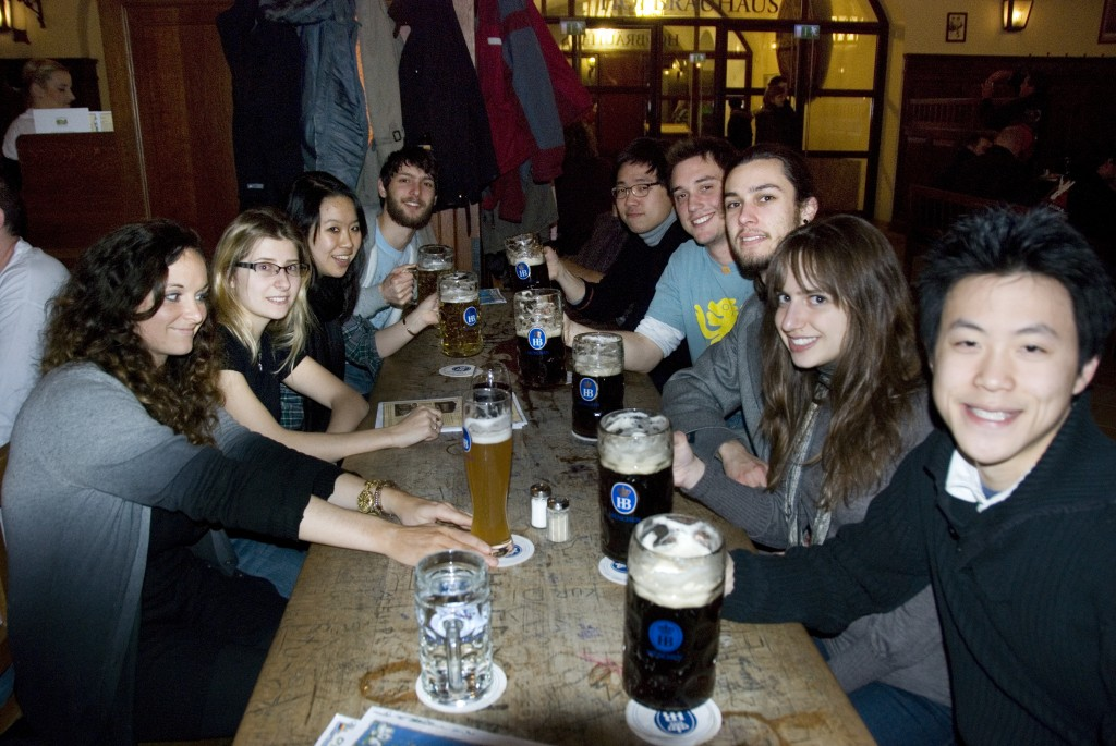 A good German dinner with the studio at the Hofbrauhaus
