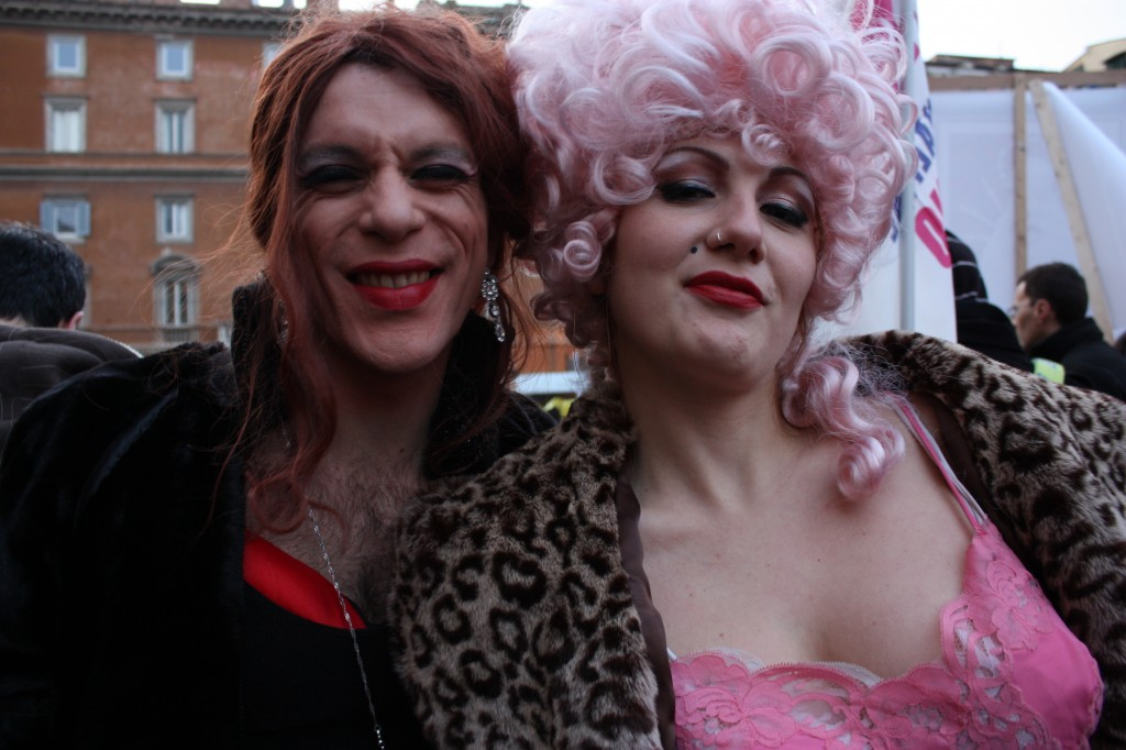 Chest hair, lace and furs. A very Italian cast of characters.