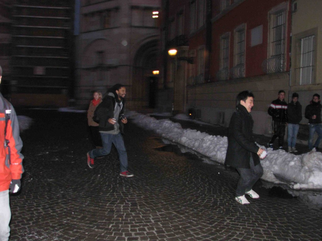 Zach Chasing Eun Woo (Snowball in Hand) Down the Streets of Parma