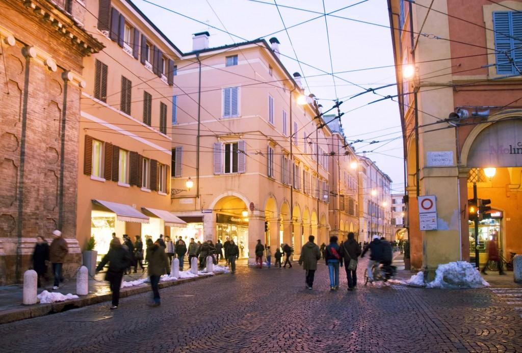 Modena at Dusk and its many fashion stores