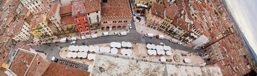 View from tower of Piazza delle Erbe in Verona