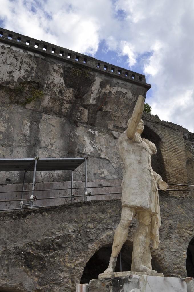 The statue of Proconsul Marcus Nonius Balbus, standing in the square near the suburban baths