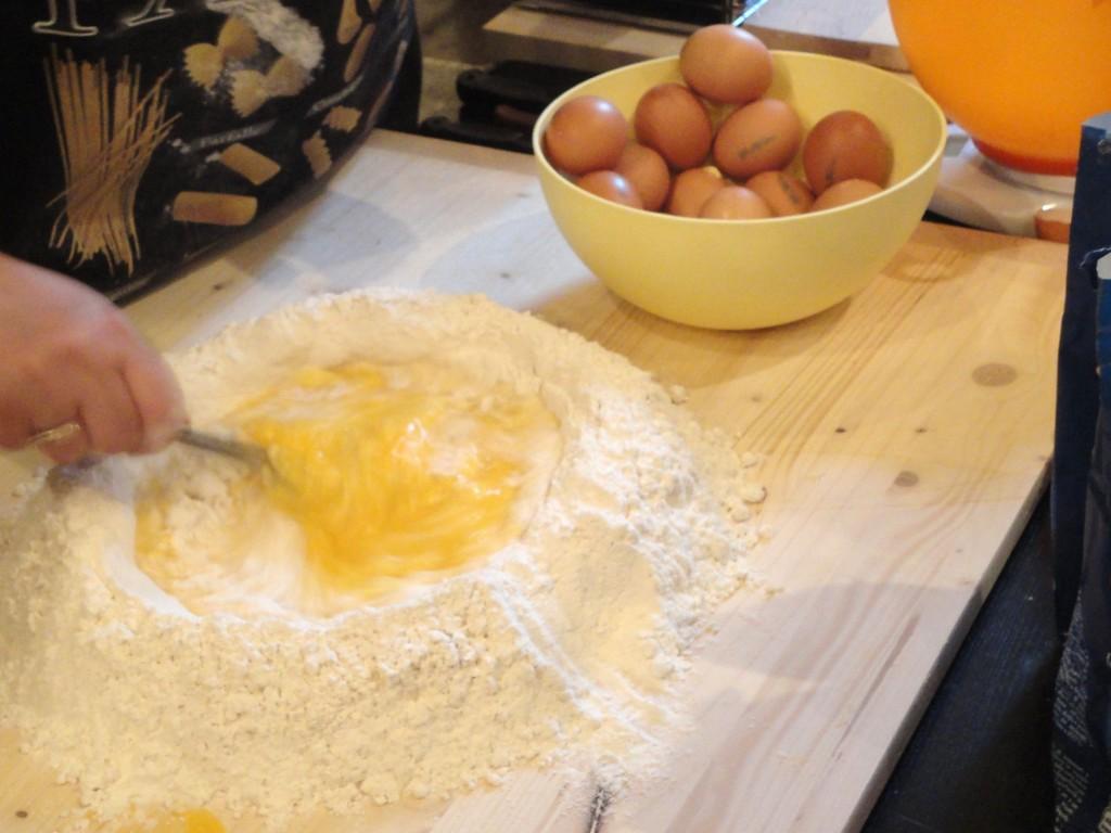 pasta dough =eggs + flour