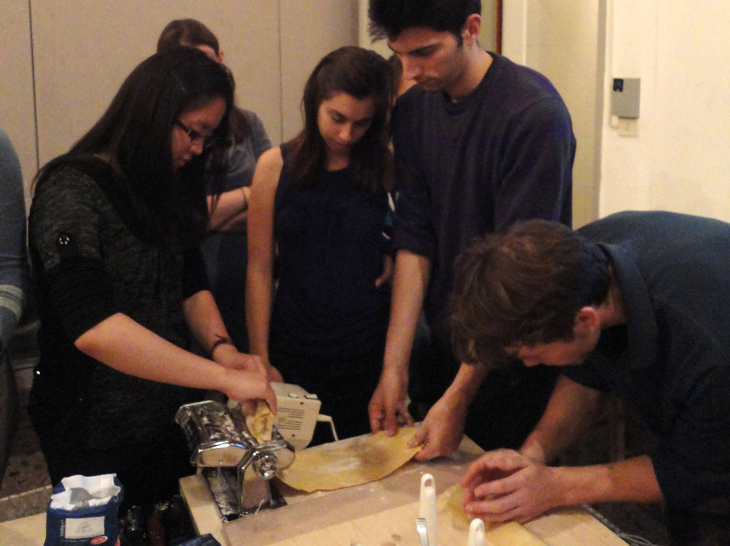 rolling the dough and forming the ravioli