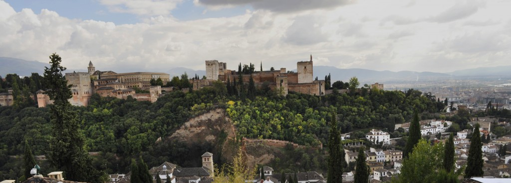 View of the Alhambra Complex from the top of Granada