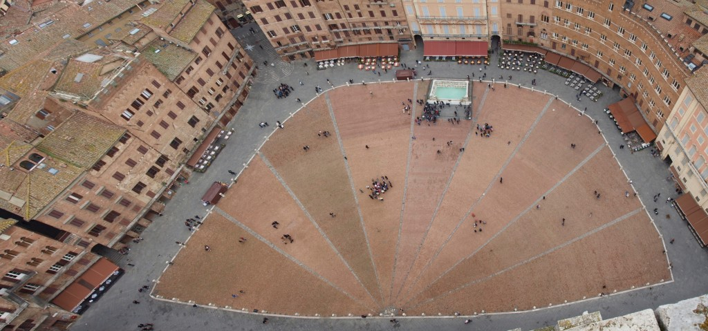 Siena: Piazza del Campo as seen from the top of Torre del Mangia