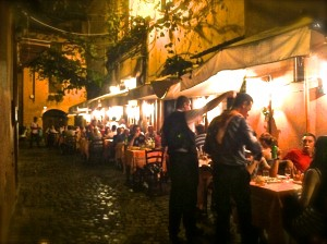 Ristorante La Canonica in Trastevere. Outdoor seating is very common  and enjoyable.