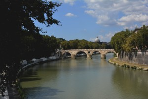 The bridge over the Tiber River that we cross every day.