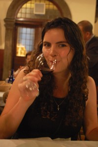 Ngaire enjoying her glass of Santa Martina Rosso di Toscana