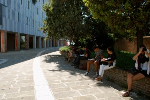 Group sketching in modern housing development in Venice