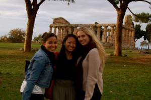 Greek Temple behind, Cristina, Pamela, and Cassidy