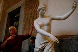 Jan teaching us about a statue of Aphrodite in the archaeological museum