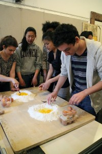 Step 1: the eggs are combined with flour. Photo: Winnie Lu