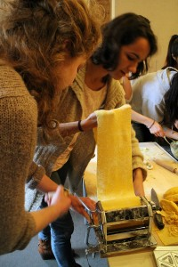 Step 2: The dough is rolled out using a pasta machine. Photo: Winnie Lu