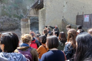 Professor Jan Gadeyne leads a tour of the ruins and street systems at Herculaneum.