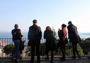 Students and professors reflect on their day at the top of the Charterhouse in Napoli.
