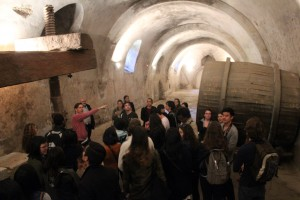 Professor Jeffrey Blanchard holds court in an historical wine cellar.