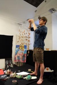 Jungbin Seo, BFA 2016 installs his piece in the art galleries downstairs. Photo: Winnie Lu