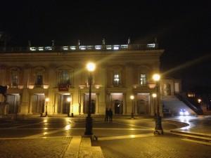 Michelangelo's Campidoglio at night.