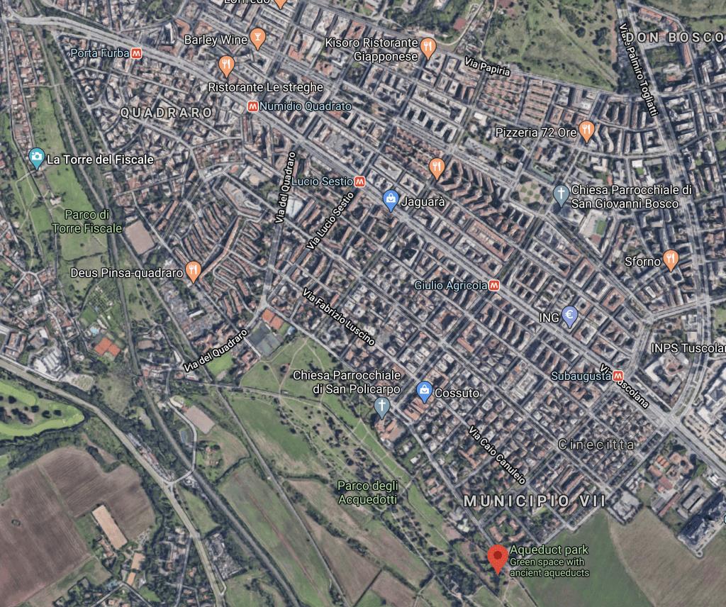 Colli Albani Neighborhood. Google Maps