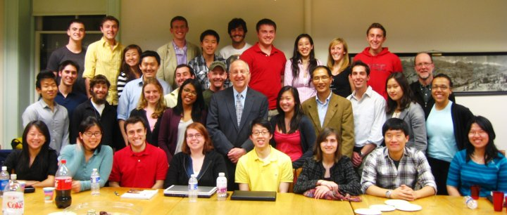 CAPS students enjoy an evening discussion with university President David Skorton, who visited with the CAPS program in April.  Included in this photo are CAPS students from the Classes of 2010, 2011, 2012 and 2013, and CAPS faculty Xu Xin, Allen Carlson and Haiyan Wang.