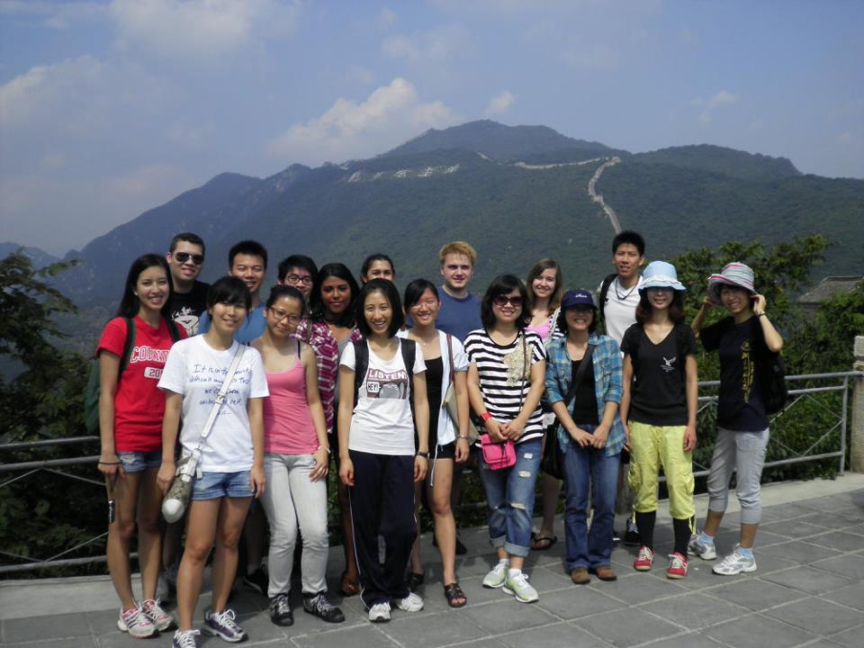Students at the Great Wall of China