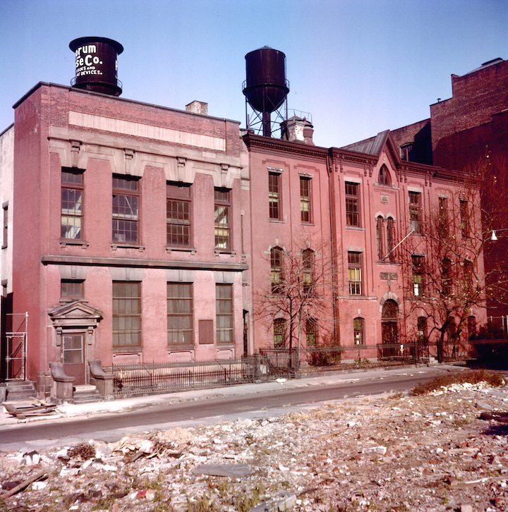 PUBLIC SCHOOL 7, c. 1955, LAND CLEARED FOR BQE IN FOREGROUND - JOHN TAMBASCO