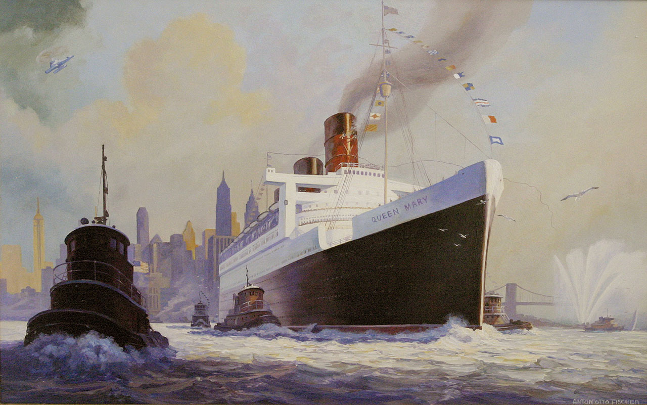 """RMS QUEEN MARY ENTERS NEW YORK HARBOR"" - ANTON OTTO FISCHER, 1955"