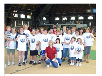 Staff members from the University Business Service Center and family at the Guinness World Record Breaking Event September, 2008. Proceeds were donated to the United Way of Tompkins County.