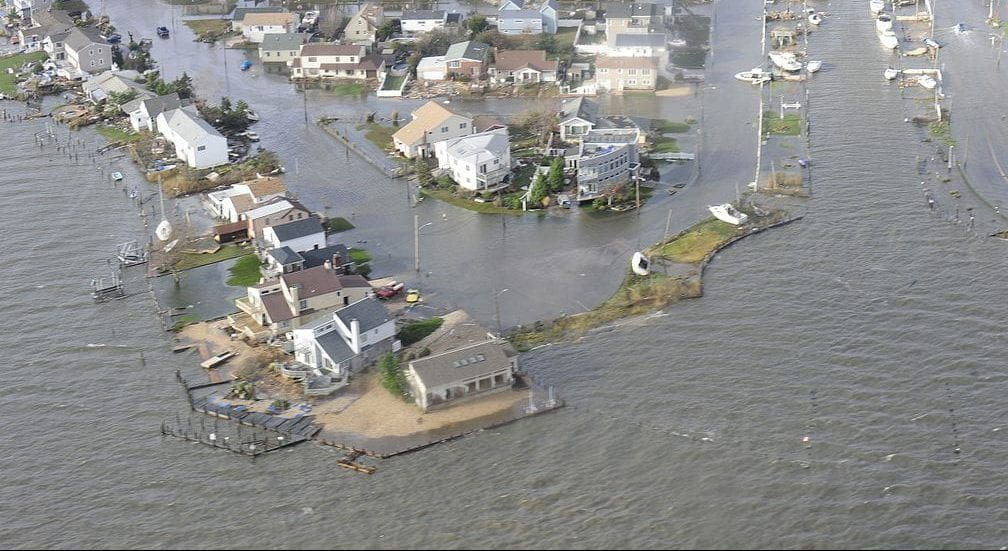 Areal image of hurricane sandy aftermath