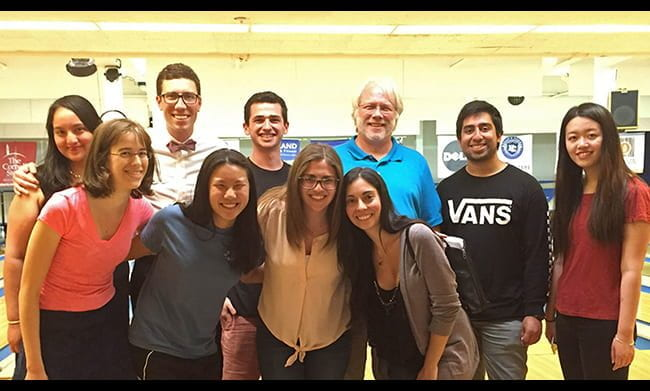 Group photo of lab members and David Smith, PhD at a bowling outing in 2016.