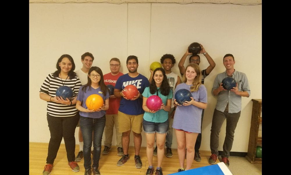 Group photo of lab members at bowling outing.