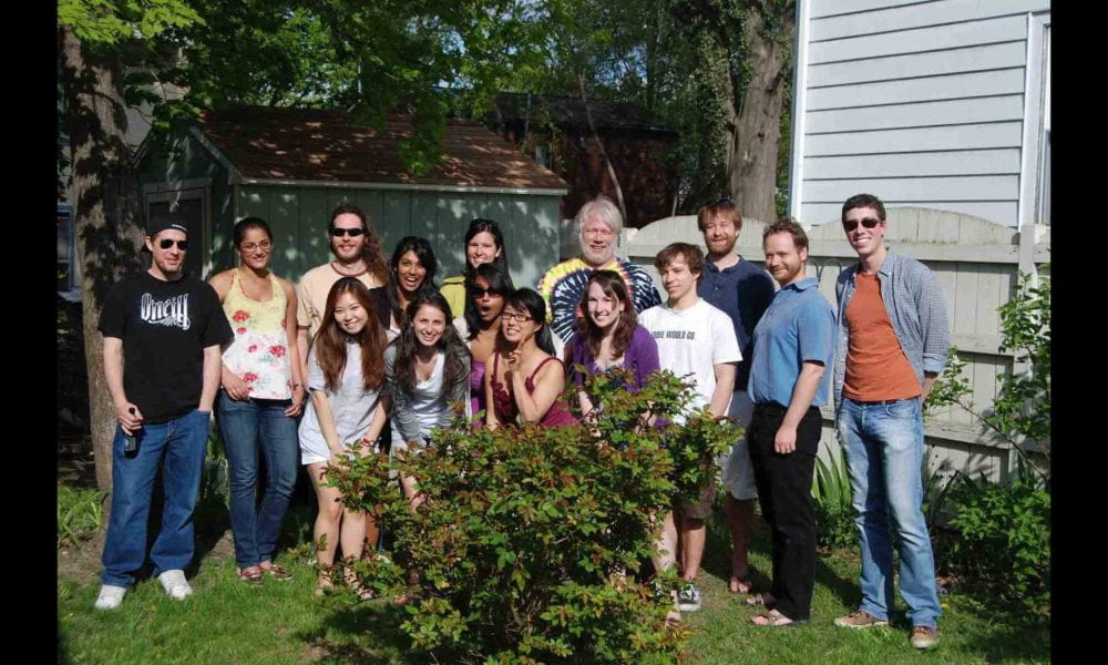 Group photo of lab members at cookout with David Smith, PhD in 2011.