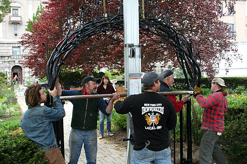 Van Doren and crew install new gate in Minns Garden.
