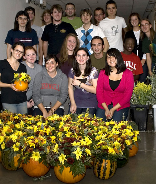 On October 21, 31 members of Hortus Forum, Cornell's student horticulture club, gathered to create 90 centerpieces out of pumpkins, mums and other fall flowers and foliage for the Cornell trustees' weekend dinner.