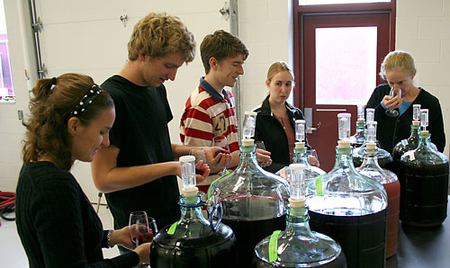 Wine testing at the Viticulture and Enology program's teaching winery at Cornell Orchards.