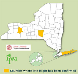 Late blight alert map for July 28, 2010.