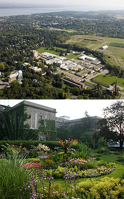 Aerial view of Geneva campus (top) and Plant Science Building in Ithaca